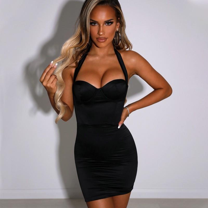 Halter open back bodycon dress sexy skinny revealing backpack hip Mini Dress