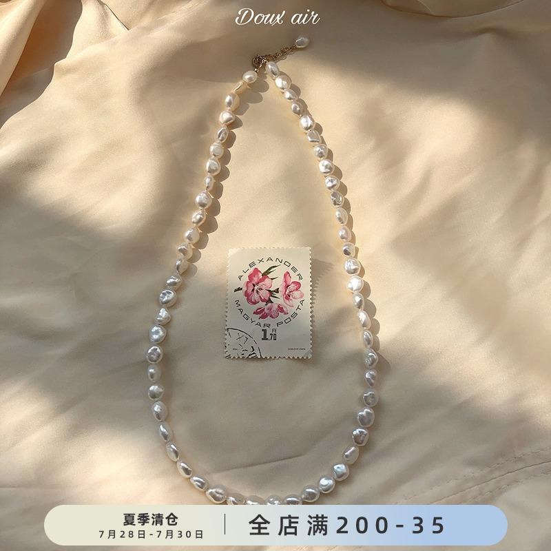 Doux Air法国女孩 巴洛克珍珠项链女14k包金气质锁骨链潮网红项坠