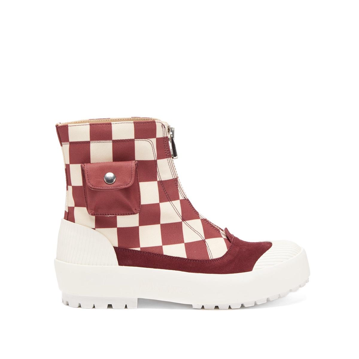 包税代购JW Anderson 拉链格纹帆布靴子女2021新款奢侈品高跟鞋