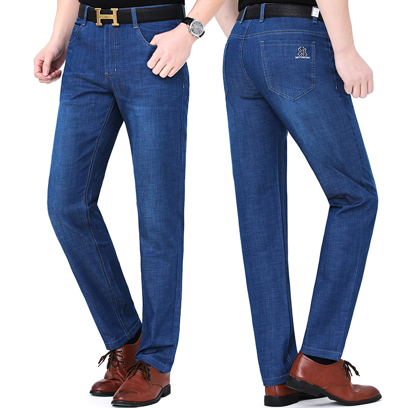 New product huagongzi 2021 middle aged fashion new mens jeans straight tube business leisure pants package