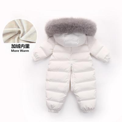 儿童连体衣羽绒服男女宝宝0-1-2岁婴儿冬套装哈衣外出服爬服童装