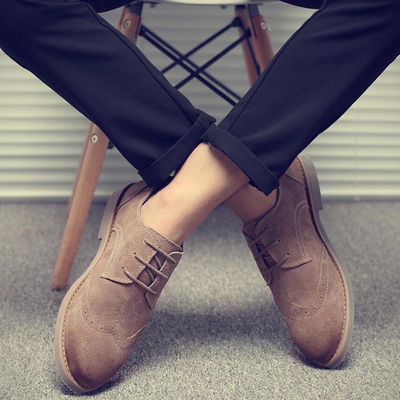 男鞋冬季真皮布洛克鞋子男韩版潮马丁靴商务高帮棉鞋加绒休闲皮鞋