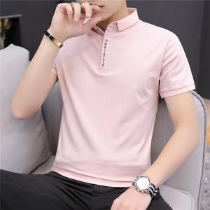 純色有領短袖T恤男士純棉修身polo衫 2019夏季新款潮流翻領男裝