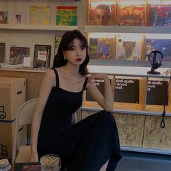 范智乔黑色针织吊带中长款连衣裙