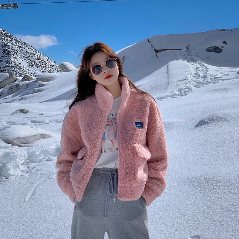范智乔 粉色羊羔毛外套女秋冬摇粒绒加厚小个子chi短款外套ins潮