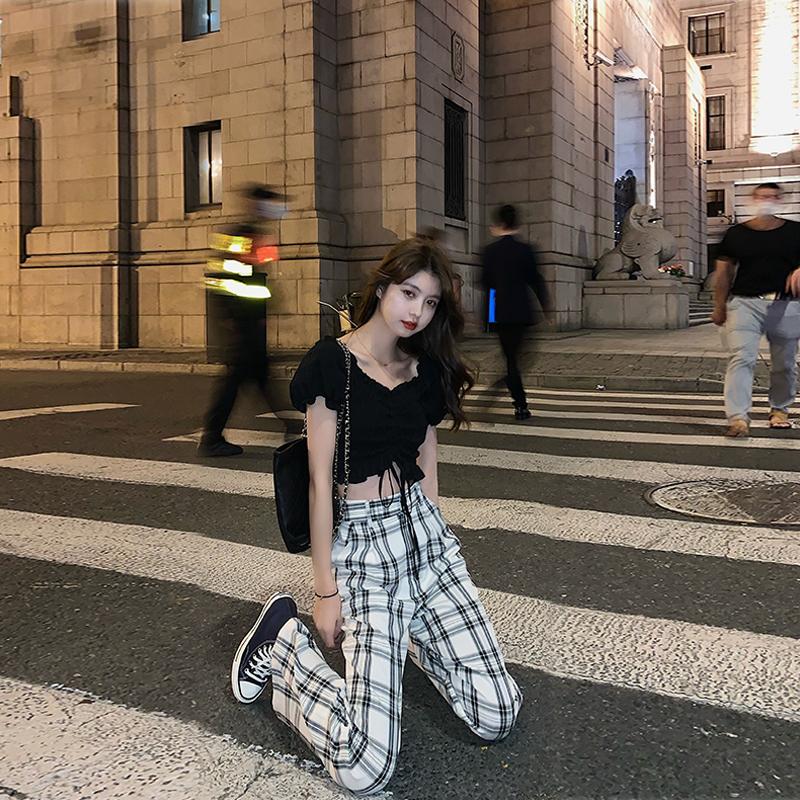 范智乔黑白格子裤子女夏天宽松薄款高腰直筒拖地裤休闲垂感阔腿裤