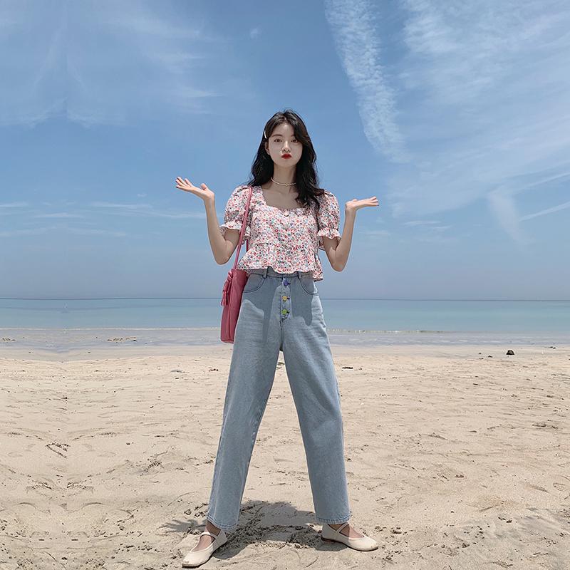 范智乔 泫雅风牛仔裤女2020新款春装宽松显瘦百搭高腰直筒阔腿裤