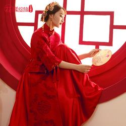 秀禾服新娘2020新款红色婚纱敬酒礼服中式婚纱结婚改良旗袍龙凤