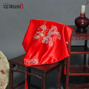 结婚大红盖头新娘盖头纱绸缎秀禾服头饰传统结婚饰品