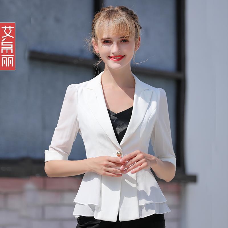 雪纺西装外套女春夏薄款2021新款网红宽松休闲白色气质防晒小西服