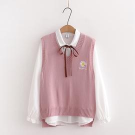 日系学院风少女软萌妹毛衣马甲+衬衫两件套学生秋装宽松百搭套装