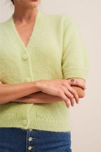 rouje法式慵懶風牛油果綠色短款毛衣針織開衫短外套女ins博主同款