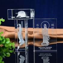 Crystal inner carving Avalokiteshvara ornaments Crystal inner carving floor mold custom temple souvenirs office gifts
