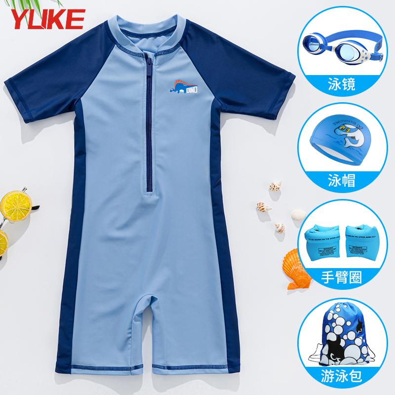 儿童泳衣男童小中大童宝宝连体速干防晒泳裤2021新款专用游泳装备