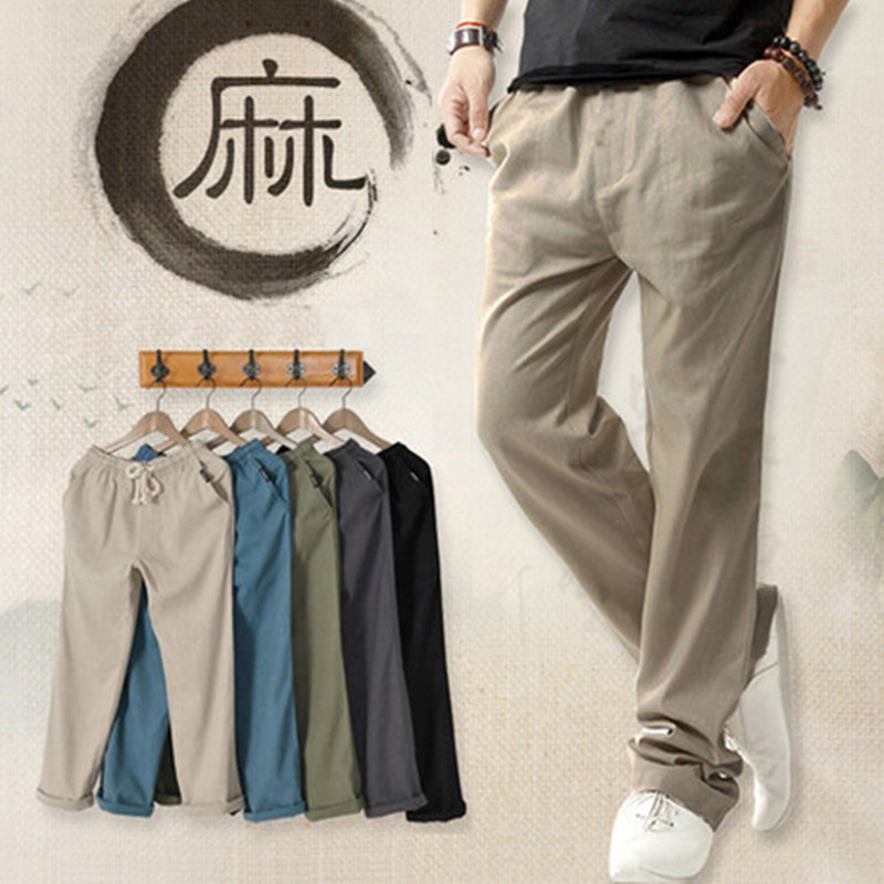 Summer thin mens casual pants mens sports pants straight tube mens pants loose large linen pants mens cotton linen pants