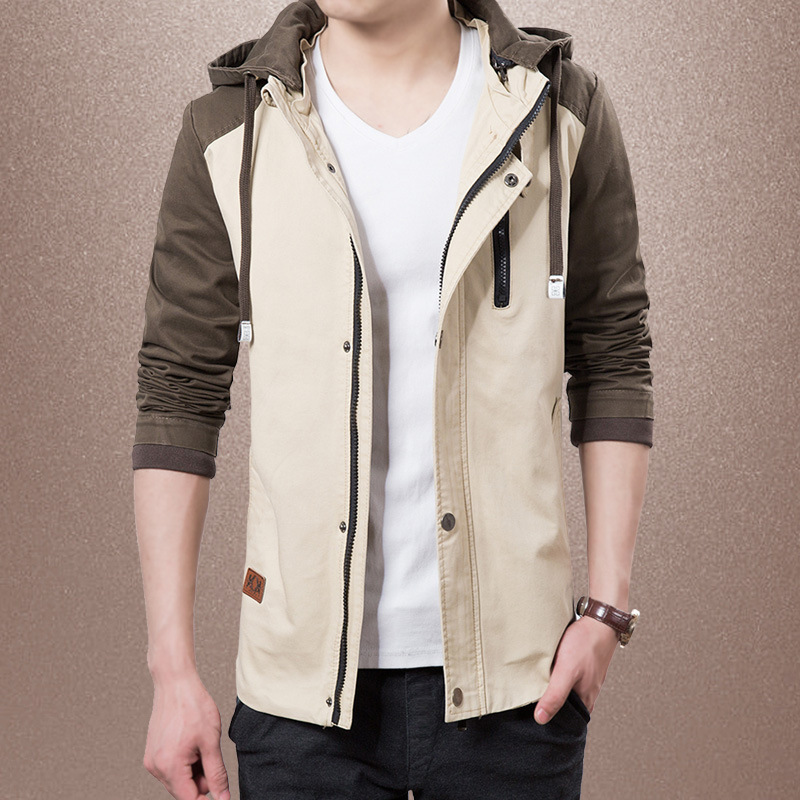 2020 spring and autumn new casual mens wear Pure Cotton Hooded mens jacket Korean slim mens jacket