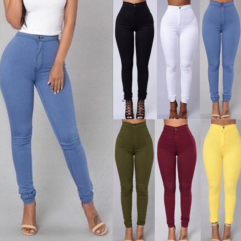 Net red European and American slim waist buttock artifact Leggings thin high waist elastic pencil pants tight candy jeans