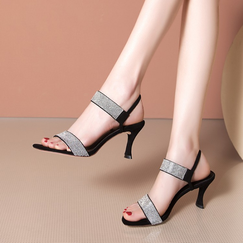2020 new European fashion station leather Rhinestone peep toe Stiletto High Heel Shoes fairy style with sandals