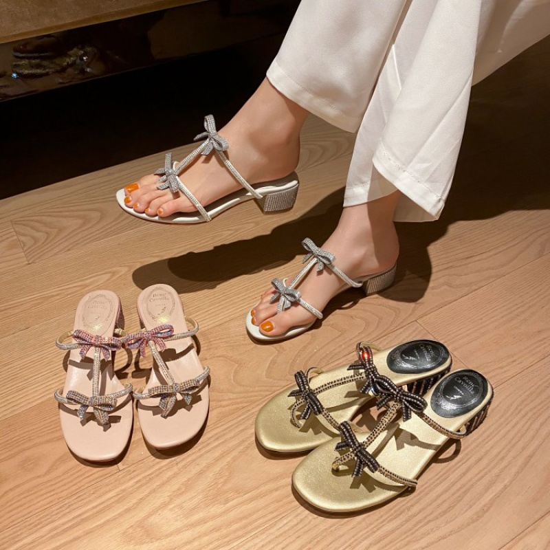 Womens sandals with leather soles, Roman high heels, thick heels and half slippers 2020 summer new RC sandals bow diamond