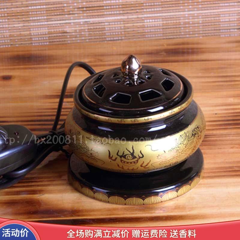 家庭用陶磁器の電子沈殿香炉に電気香道炉の白檀香炉を挿入し、香炉仏具の香炉を燻べる。