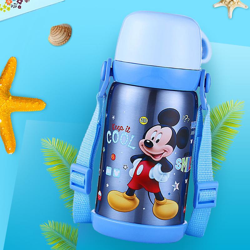 迪士尼兒童保溫杯小學生不鏽鋼便攜水壺幼兒園寶寶直飲背帶水杯子