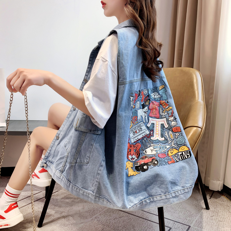 Slouchy denim vest women's loose spring and summer 2020 new Korean print hole jacket