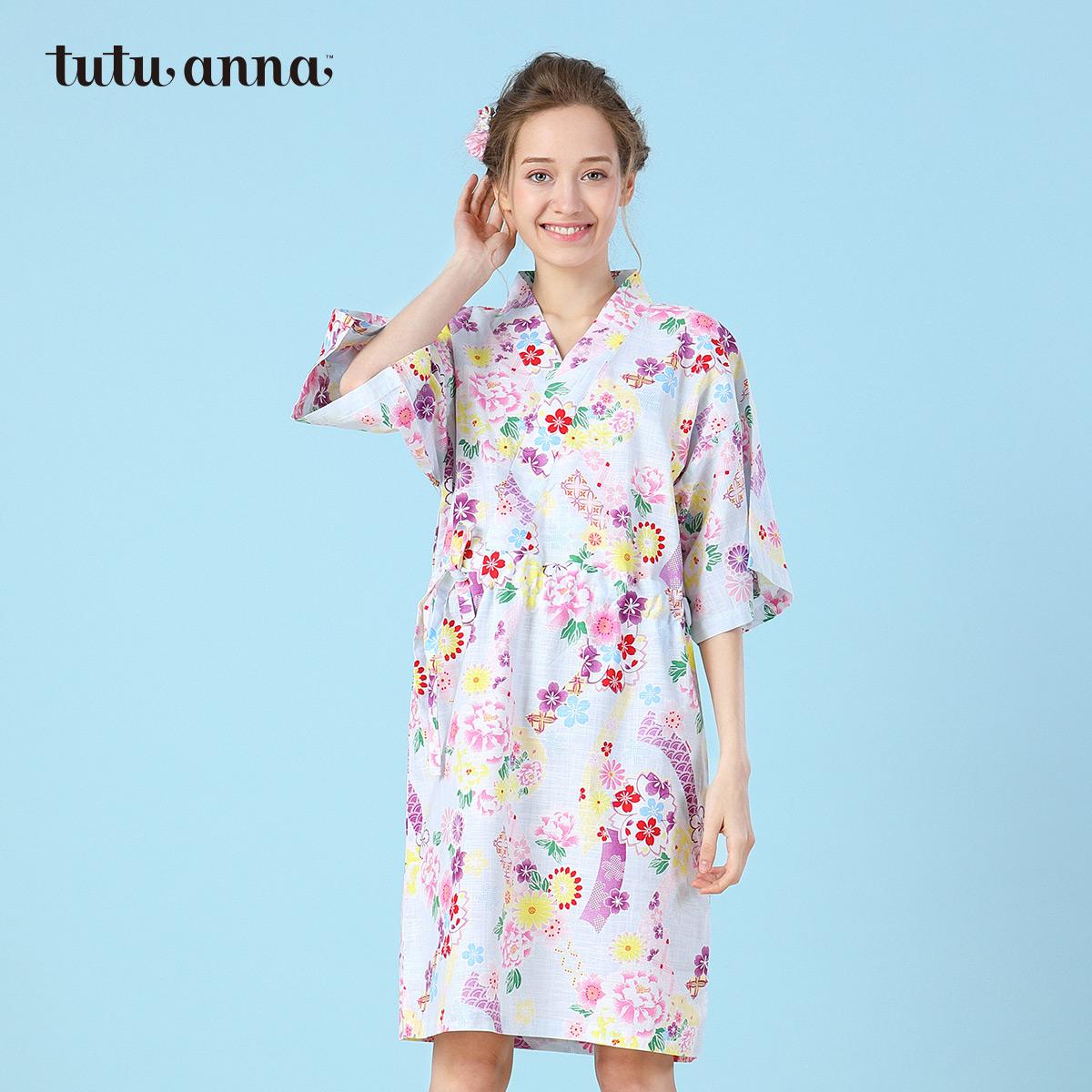 tutuanna2018春夏新品睡裙女 和风甚平 牡丹花图案棉质连衣裙和服
