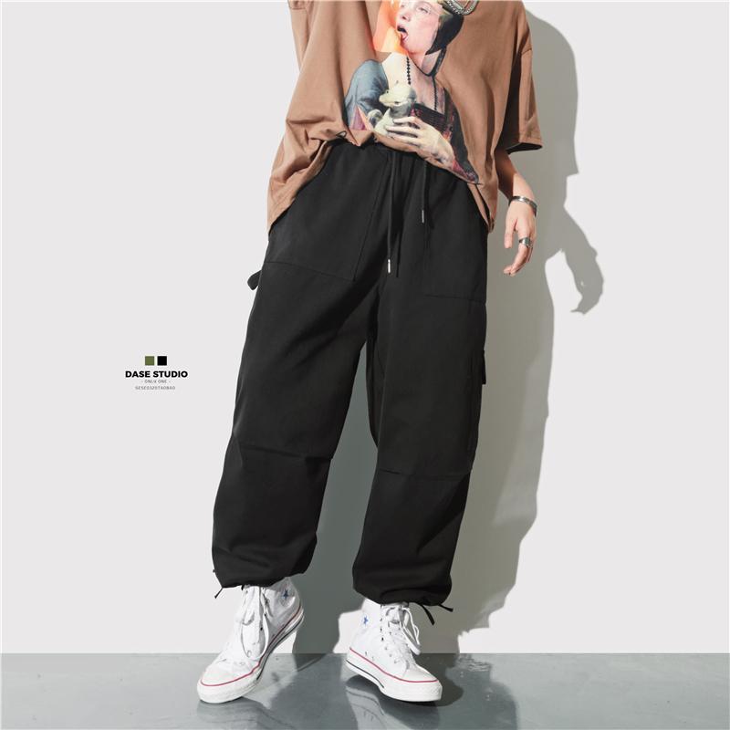 券后98.00元日系复古春装ins工装裤男潮牌纯色多口袋束脚宽松嘻哈chic休闲裤