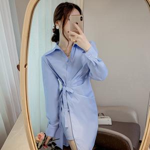 YF63188# 设计感收腰皱褶打底绑带蓝色衬衫连衣裙女长袖 服装批发女装直播货源