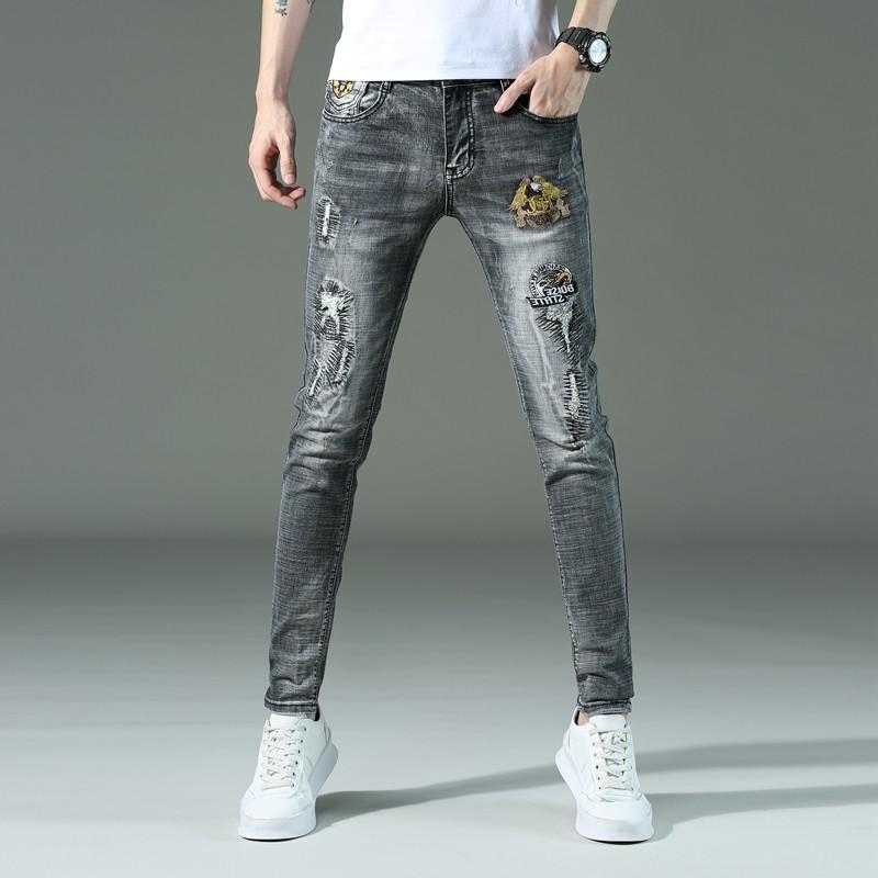 2020 trend retro high elastic thin embroidery summer hole jeans mens Korean slim beggars pants