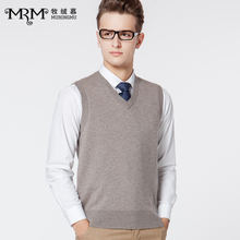 Cashmere Muqiu autumn and winter business wool vest men's middle-aged V-neck solid color sleeveless sweater vest sweater vest