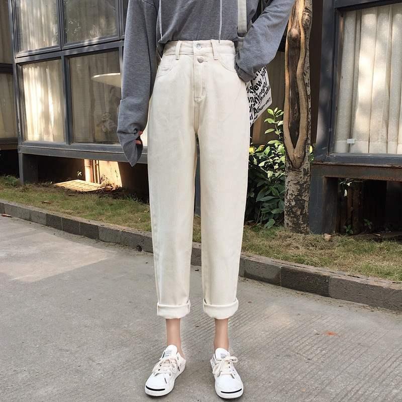 2021春季新款韩版精品宽松牛仔女高腰显瘦常规阔脚裤学生九分裤