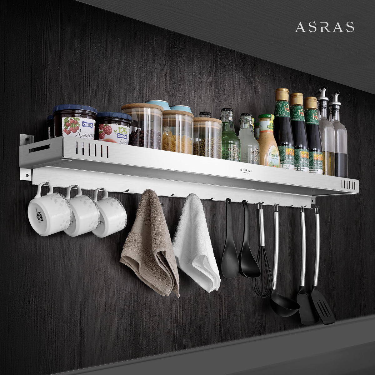 Alsace 304 stainless steel kitchen, bathroom, storage rack, wall hanging, seasoning, storage rack, hook, hanging piece, no hole
