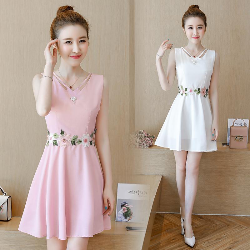 150矮个子小女孩连衣裙甜美修身显瘦身气质淑女装无袖背心裙可爱
