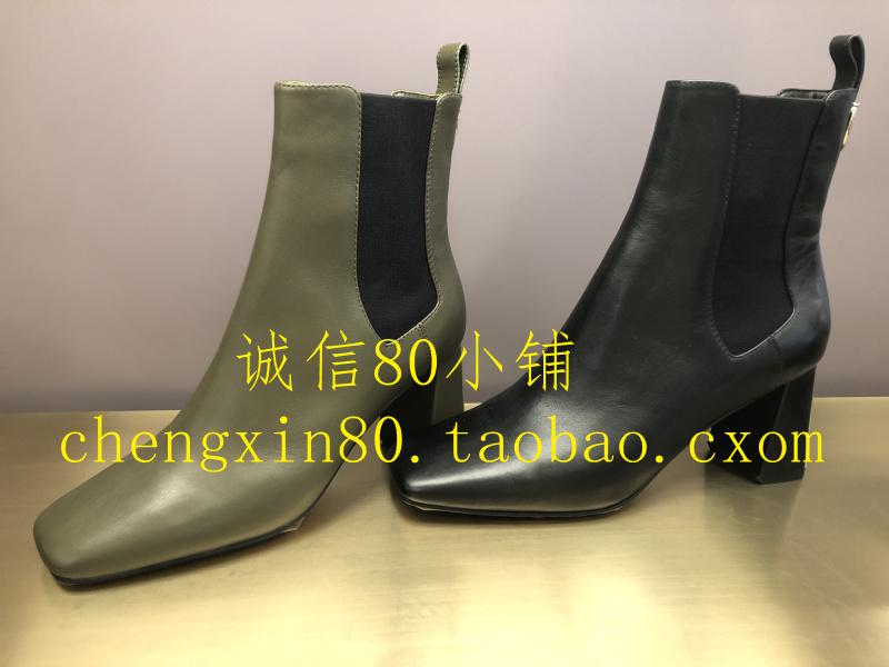 LineaRosa恋尚萝莎女鞋国内代购2020冬款粗高跟方头短靴子1T73602