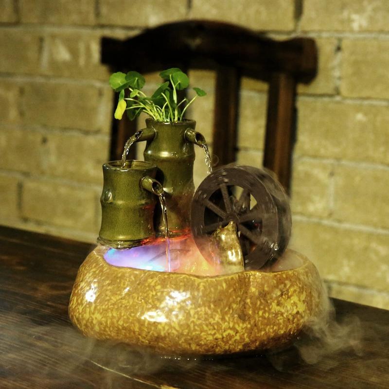创意流水器家庭装饰风水轮招财流水摆件办公室书桌风车养鱼池