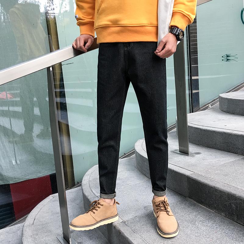 男牛仔裤男士韩版BF风宽松裤子学生潮流冬季ulzzang男裤