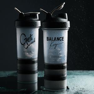 半房 摇摇杯 奶昔蛋白粉搅拌健身水杯三层大容量刻度便携运动杯子