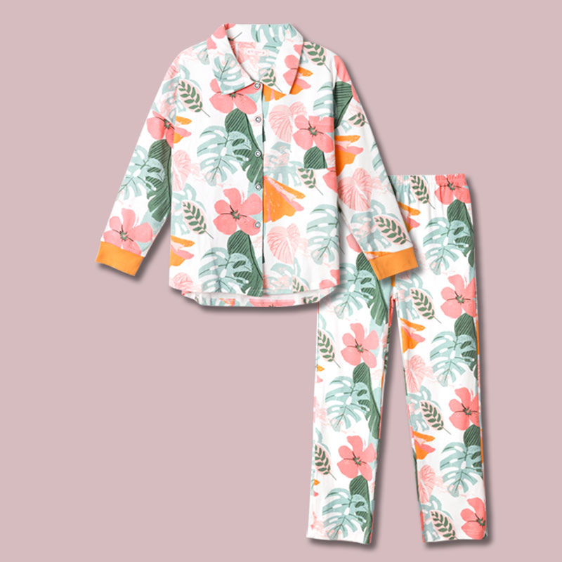 Japanese spring and autumn womens lovely and fresh pure cotton knitted pajamas loose Lapel long sleeve suit household clothes