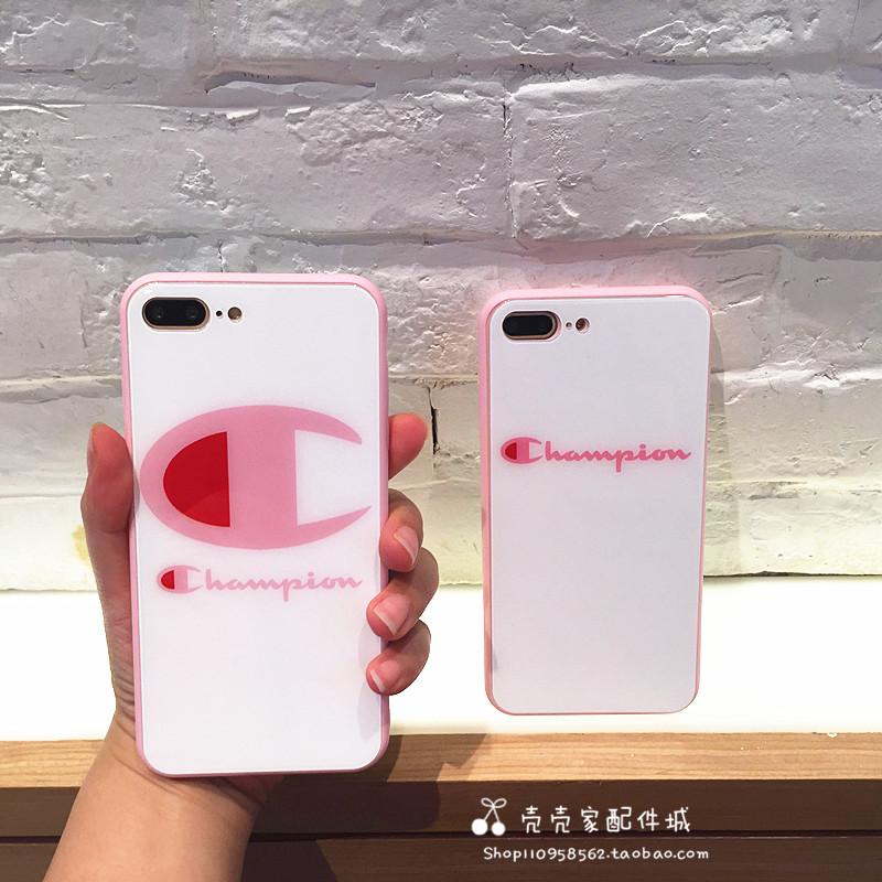 新潮牌冠军iiphone7plus手机壳玻璃壳苹果6s创意个性粉边8X外壳女
