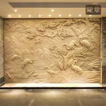 定制砂巖浮雕背景墻電視玻璃鋼仿銅浮雕壁畫人物動物風景雕塑龍章