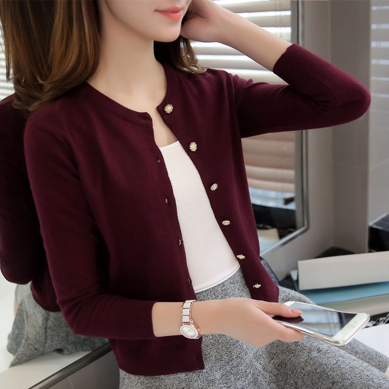 Spring, summer and autumn thin knitted cardigan long sleeve round neck with short sweater shawl coat