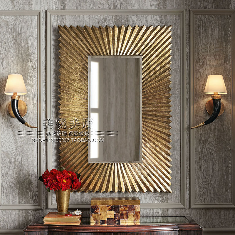 American soft decoration home fine carving country bathroom mirror decorative mirror wall hanging wall decoration wall mirror porch sun mirror