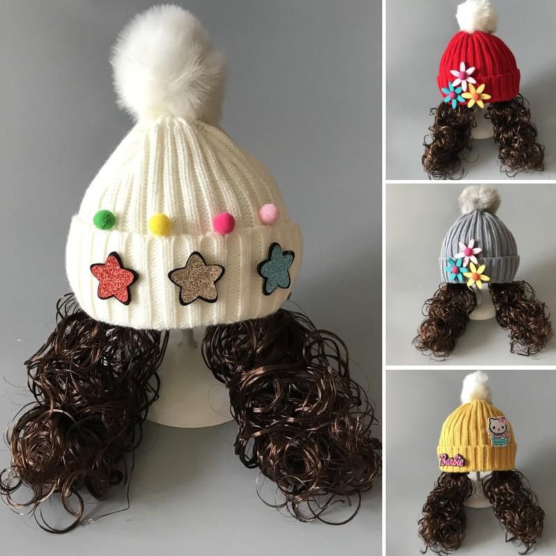 婴儿毛线帽3-6-12个月儿童帽子假发帽女童宝宝帽子秋冬季1-2-4岁