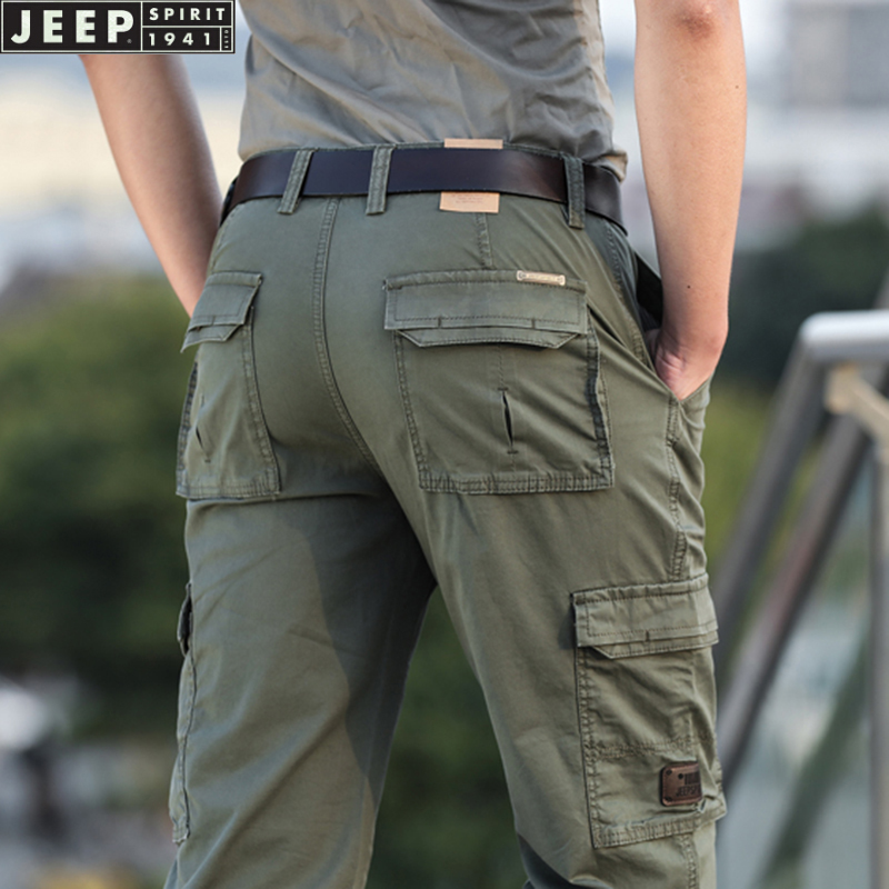 Jeep overalls mens spring and summer thin middle waist straight tube loose Multi Pocket large size cotton casual pants 2021 new product
