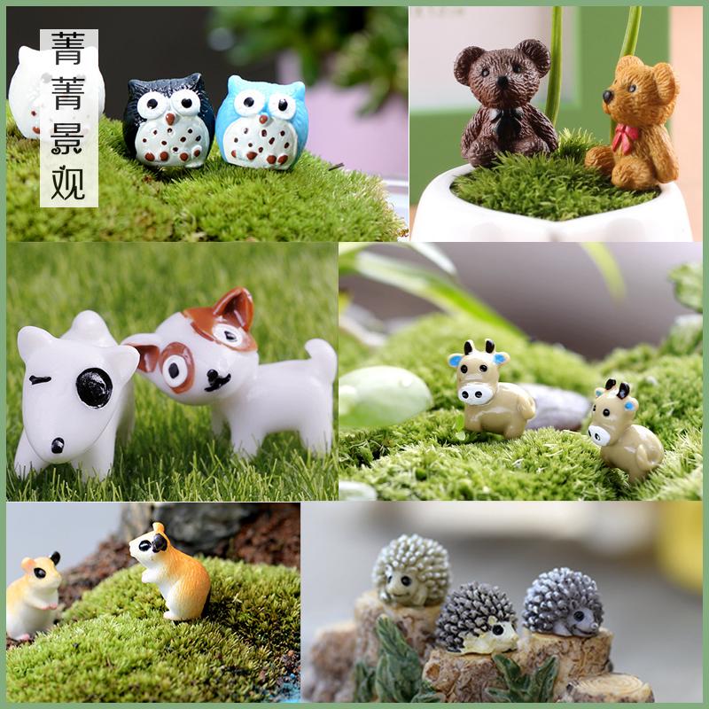 微景观迷你可爱小刺猬 猫头鹰 小熊小狗奶牛公仔组合多肉植物摆件