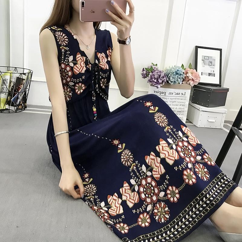 棉绸长款夏季2019新款连衣裙热销48件有赠品