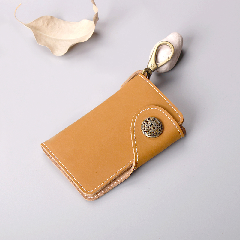 暄妍创意手工牛皮男女式汽车钥匙扣卡包零钱多功能真皮腰挂钥匙包图片