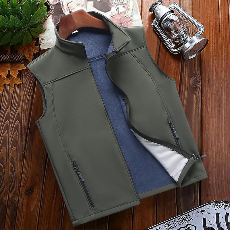 男士抓绒夹克大码宽松立领坎肩背心春秋户外马甲薄款休闲运动外套