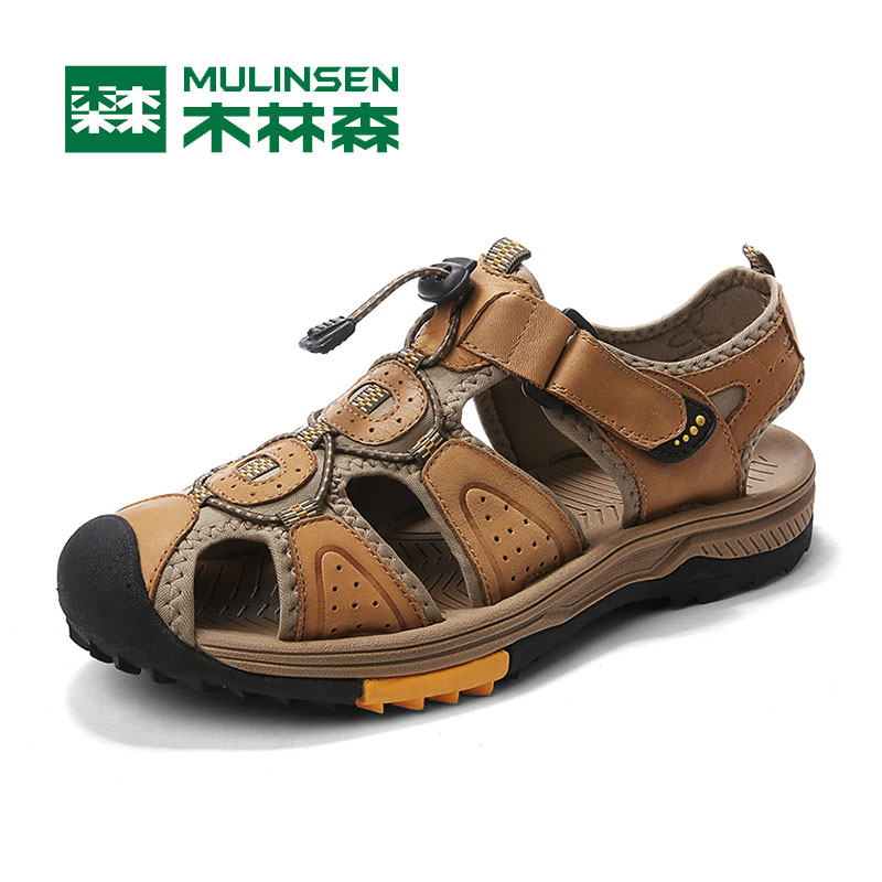Muslinsen beach shoes men's summer damask leather sandals men's casual driving bag head sander slopes men's slippers non-slip